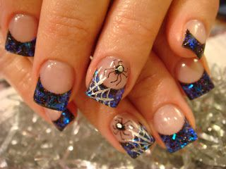purple spider nails | ... extra va ganza over the top. Had to add the 3d spider and web. SPOOKY