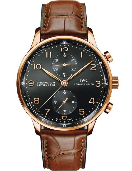 #MensFashion #Men #Fashion #Accessories #Watch Gold and brown leather watch IWC