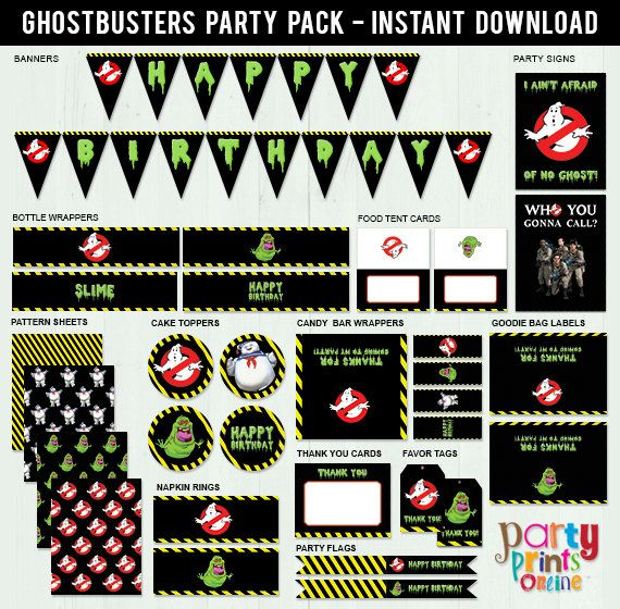 Ghostbusters Party Pack (Printable, Instant Download, DIY ...