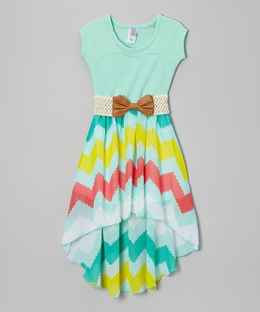 Look what I found on #zulily! Rainbow Mint Belted Hi-Low Dress - Girls by Maya Fashion #zulilyfinds