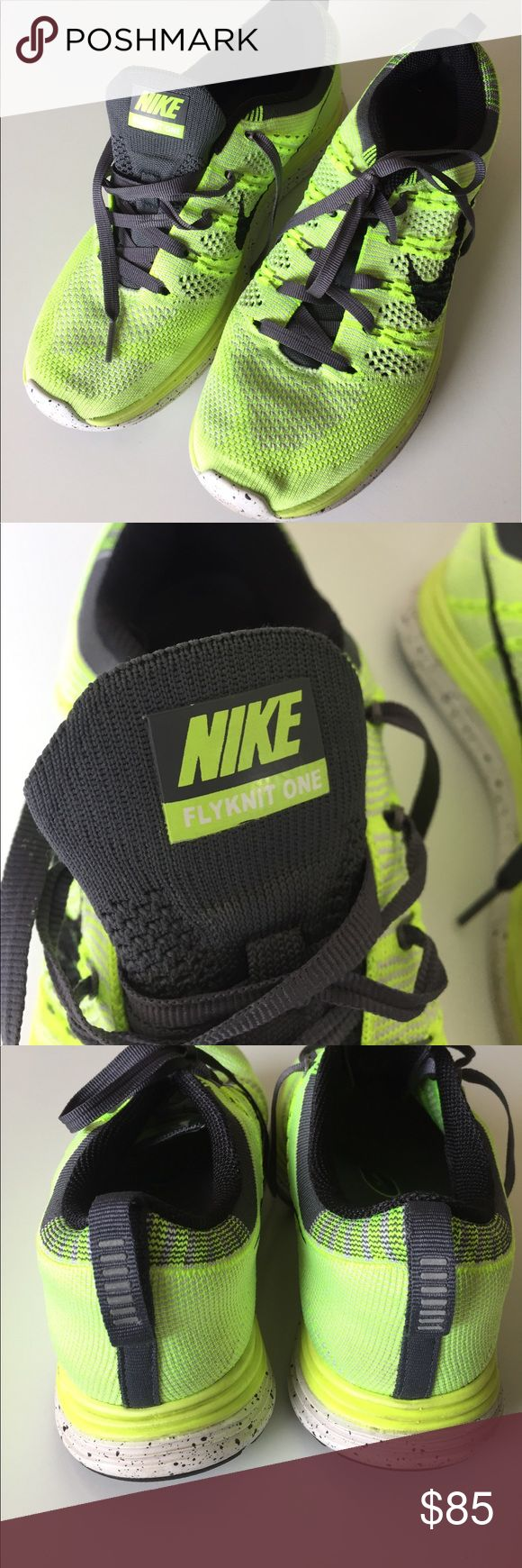 "Nike Neon Flyknit One Women's Nike Flyknit® Lunarlon One #554888-701. Neon yellow green. Removable Ortholite® insoles. Lightly worn, good condition. Size is 7.5, but my toe hits the top and I run between a 7 and 7.5 (I also have very wide feet). Toe to heel measures 10.5"". 🚫No trades🚫 Nike Shoes Athletic Shoes"
