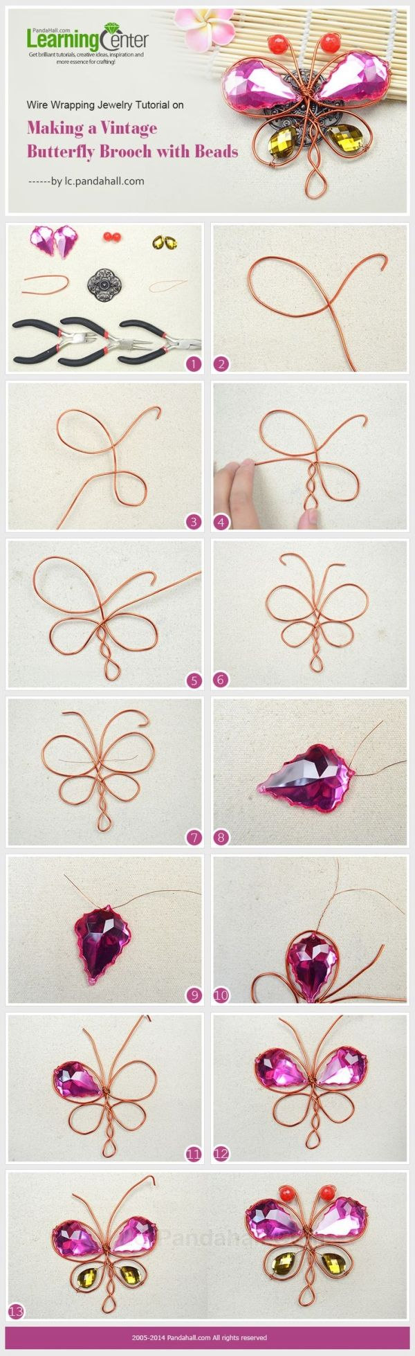 Wire Wrapping Jewelry Tutorial on Making a Vintage Butterfly Brooch with Beads by Jersica