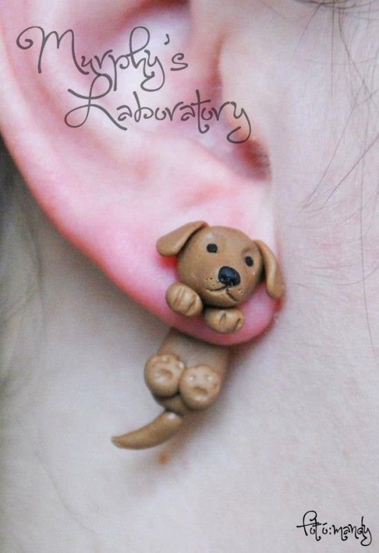 dog earrings, Polymer Clay, masa flexible, cold porcelain, masa francesa, porcelana fria
