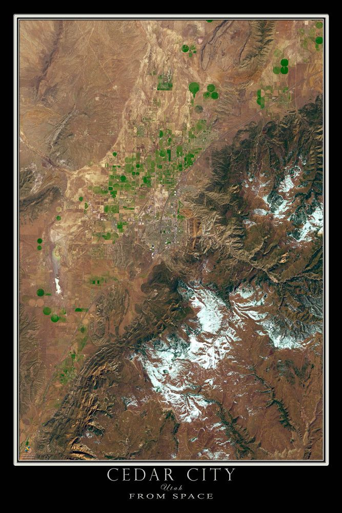 Chicago Map Location%0A Cedar City Utah Satellite Poster Map