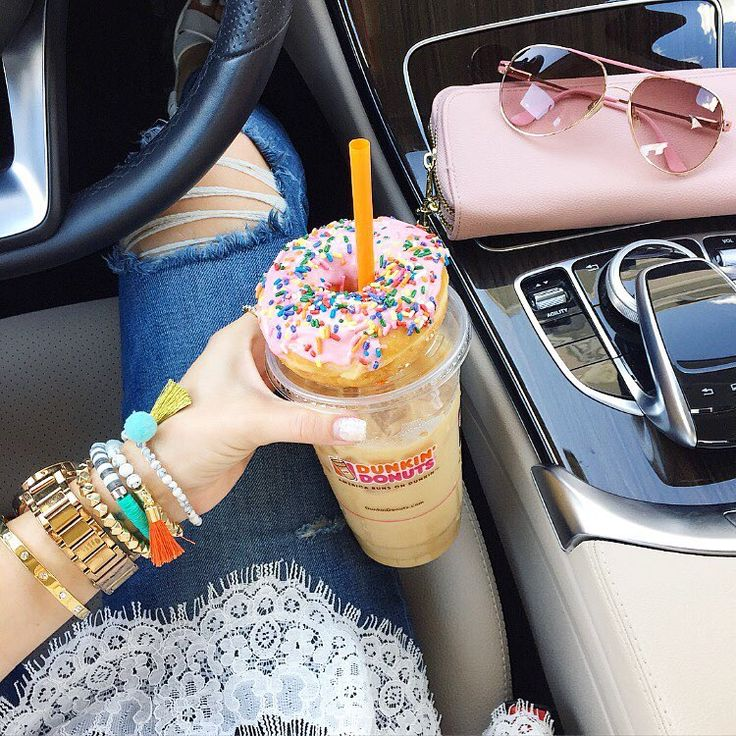 Laura Beverlin: F r i d a y  V i b e s  Just slightly addicted to Dunkin' caramel ice coffees and strawberry donuts!