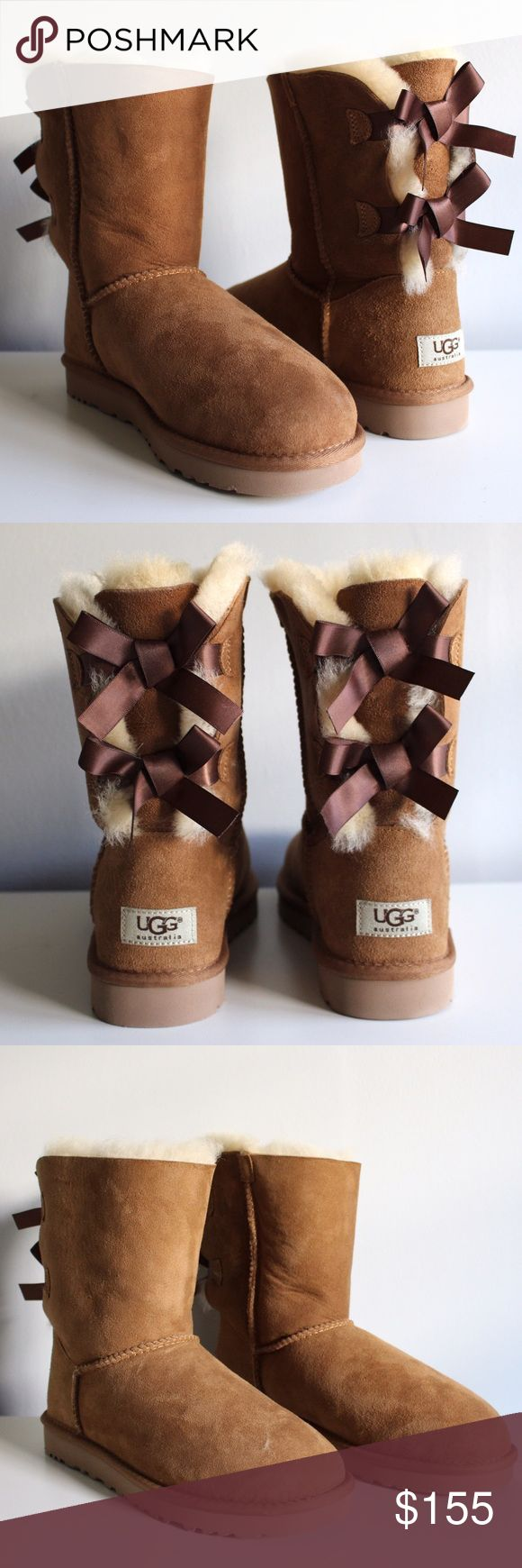 UGGS Soft, comfy, chestnut Australian UGG's with bailey bow. They have never been worn before and are in mint condition with the original box it came in, all for a GREAT deal! UGG Shoes