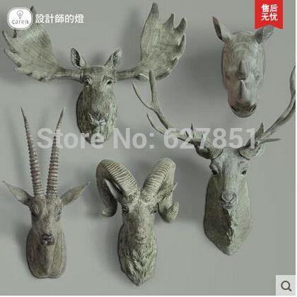 Гобелены росписи носорог глава подвеска рога оленя висит ретро европейские творческие животных настенные украшения