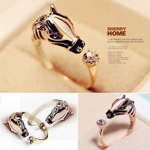 2015 hete verkoop fijne luxe vrouwen kristal strass paard verstelbare vinger knokkel ring open ringen zebra opening
