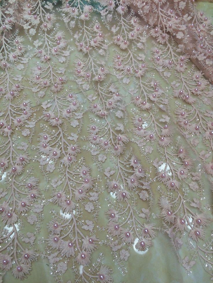 Тюль розовая с вышивкой
