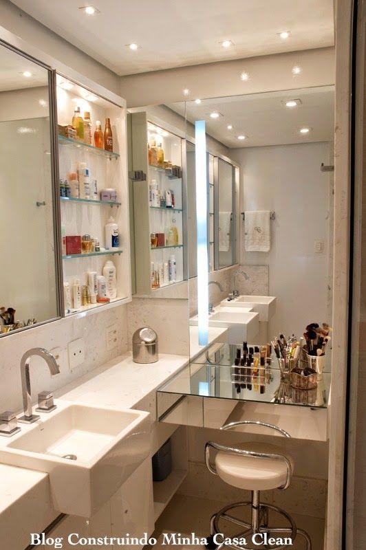 Construindo Minha Casa Clean: Banheiros Femininos com Penteadeiras! O Sonho de Toda Mulher!!!