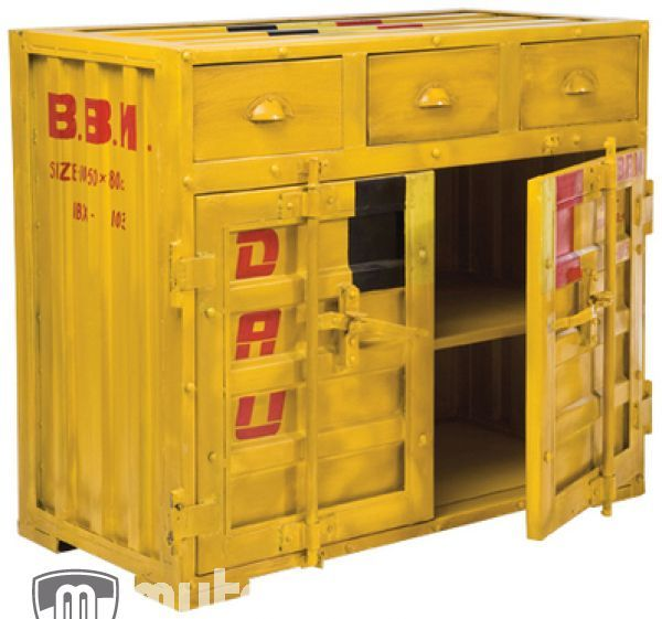 Cargo Brand Furniture: Metal Cargo Container Lookalike Sideboard Source: Mutoni