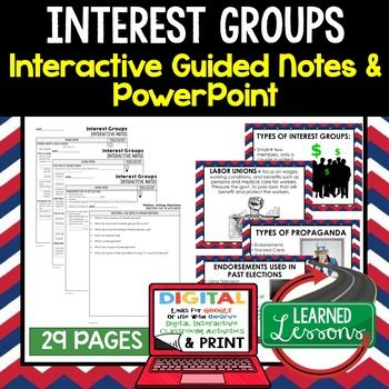 Interest Groups, Public Opinion Interactive Guided Notes and PowerPoints, Google and Print ➤Civics Notes, Civic Interactive Notebook, Google and Print, Civics Note Taking, Civics PowerPoints, Civics Anticipatory Guides, Civics Digital Graphic Organizers