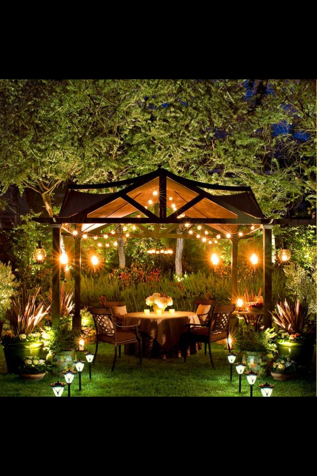 Pergola Over Firepit With Sail Shades And Lights Outside