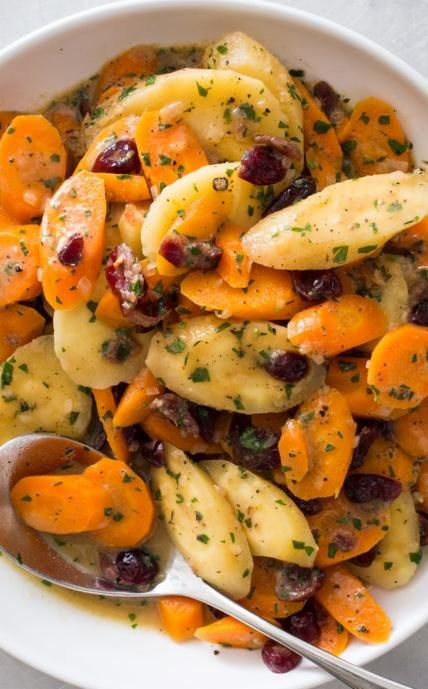Braised Carrots and Sweet Potatoes with Candied Ginger. By braising our vegetables we were able to create a sauce that coated the vegetables and infused them with deep flavor. Finishing with a sprinkle of candied ginger and a fresh herbs lent color and bright, fresh flavor.