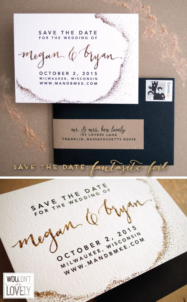 custom wedding invitations new york city%0A Custom Wedding Save the Date  Patterned Gold Foil