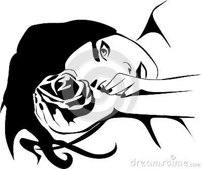 Vector illustration of a fictive woman with long hair lying.