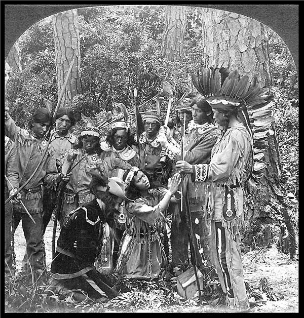 Pamunkey Indians at the 1907 Jamestown Exposition re-enact how Pocahontas intervened to save Captain John Smith from execution. The Pamunkeys were one of the tribes that formed the Powhatan Confederation at the time of the founding of Jamestown. They are accorded official recognition by the state of Virginia, and retain a small reservation.