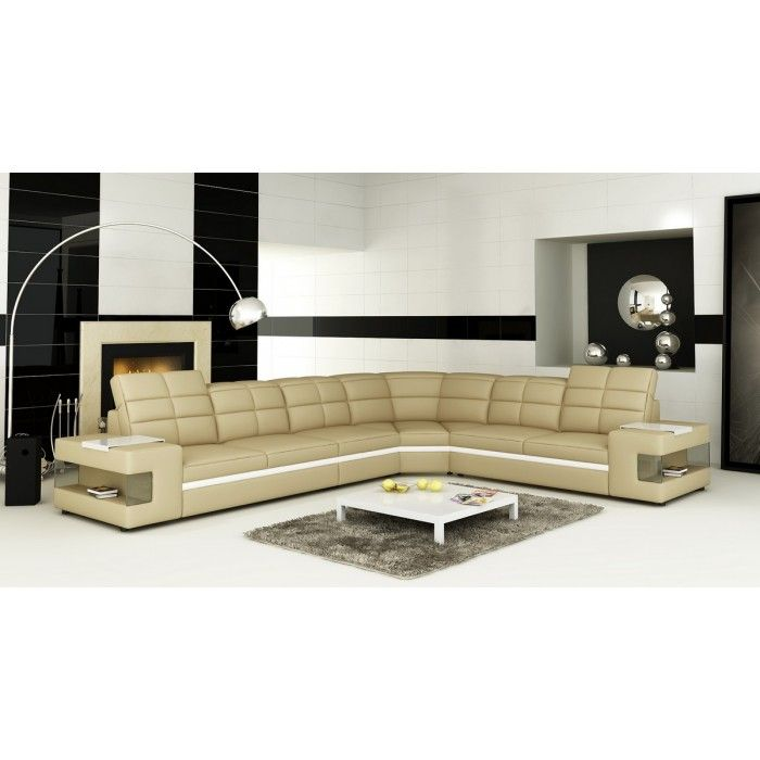 Divani Casa 6131 Modern Beige and White Leather Sectional Sofa