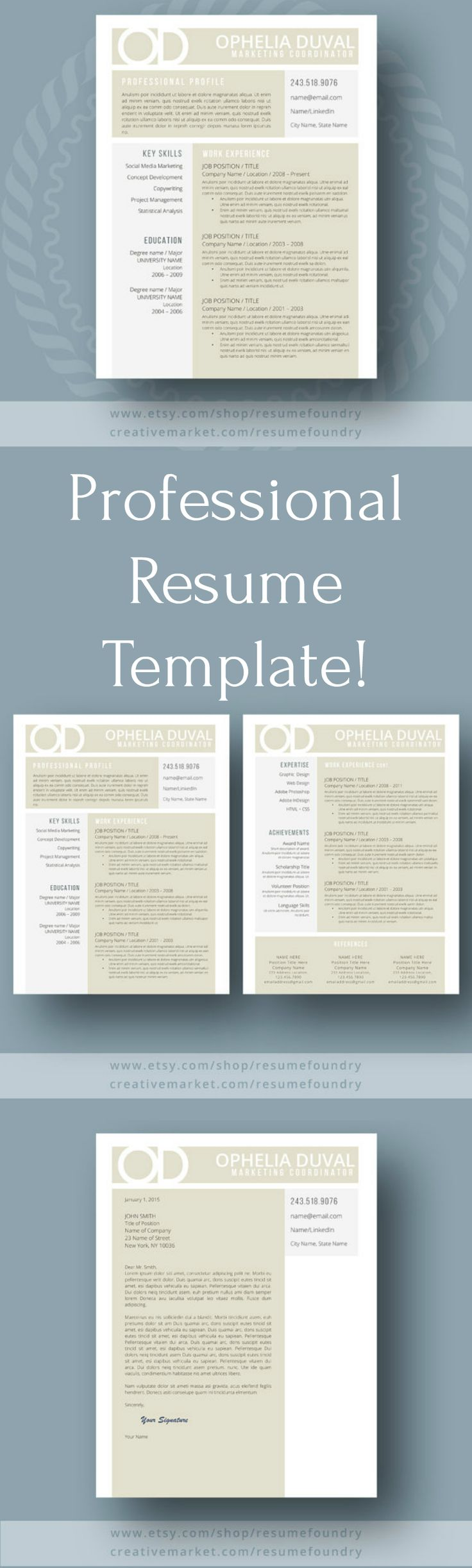 Professional and modern resume template to use! Easily customizable, you can update the colors, fonts, headings and layout to create a piece that's uniquely your own. No advanced design skills are necessary. #resume #template #cv #coverletter #references #word #ad #jobhunting #career