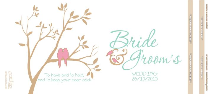 Gold wedding stubby holders