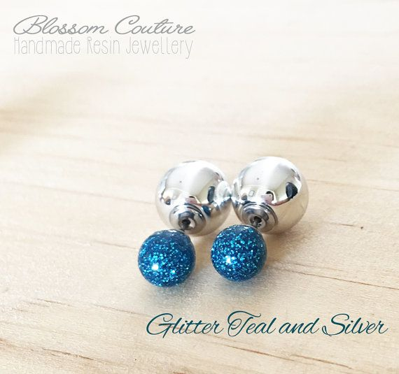 Teal Glitter and Silver Double Ball Earrings by MyBlossomCouture
