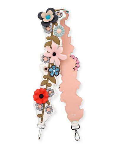 Strap You Mink Floral Shoulder Strap for Handbag, White/Multi