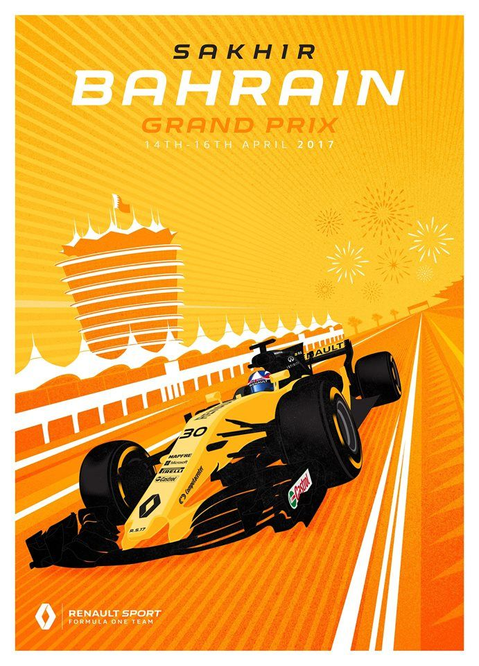 Renault Sport F1 Team poster for this weekend's  2017 Bahrain Grand Prix. #bikeraceposter