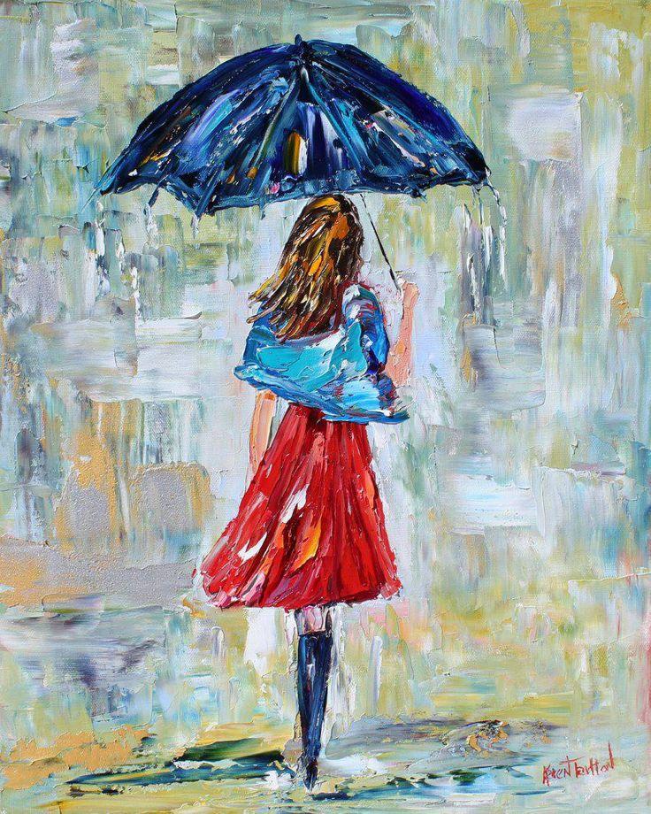 Картинки женщина с зонтом спиной нарисованная красками