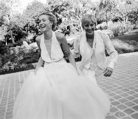 Ellen and Portia's Wedding Day-----two amazing people.  Talk about a power couple!