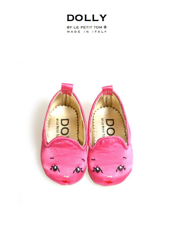 DOLLY by Le Petit Tom ® BABY Smoking Slippers 5SL fuchsia Dolly face | Le Petit Tom ®