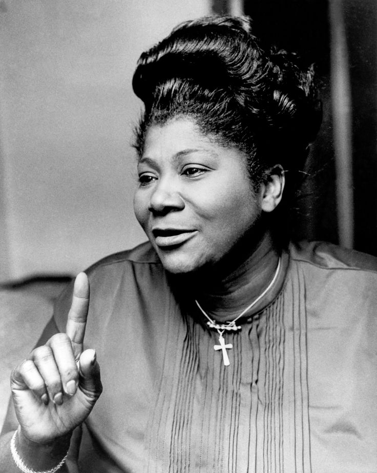 """Mahalia Jackson, October 1911 – January was an American gospel singer. Possessing a powerful contralto she was referred to as """"The Queen of Gospel """"."""