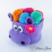 Hippo Basket - Crochet Pattern  Wouldn't a bunch of cute animal baskets be cute to hold various toys in a preschool or play room?