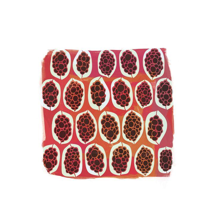 Gwibiirr // bush passionfruit print available as part of Corban & Blair collaboration with Yuwaalaraay designer Lucy Simpson of Gaawaa Miyay.