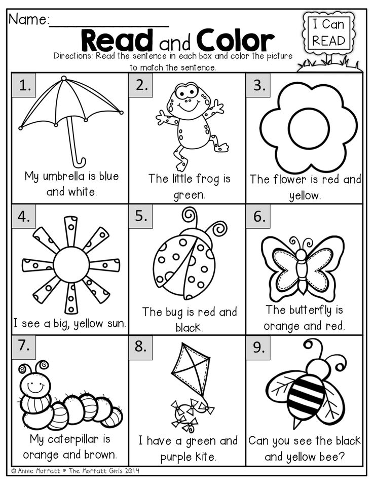 read and color read the simple sentence and color correctly reading worksheetskindergarten worksheetsliteracy activitiescolor - Activity Worksheets For Toddlers