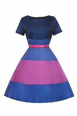 vintage 60s ριγέ φόρεμα rainbow