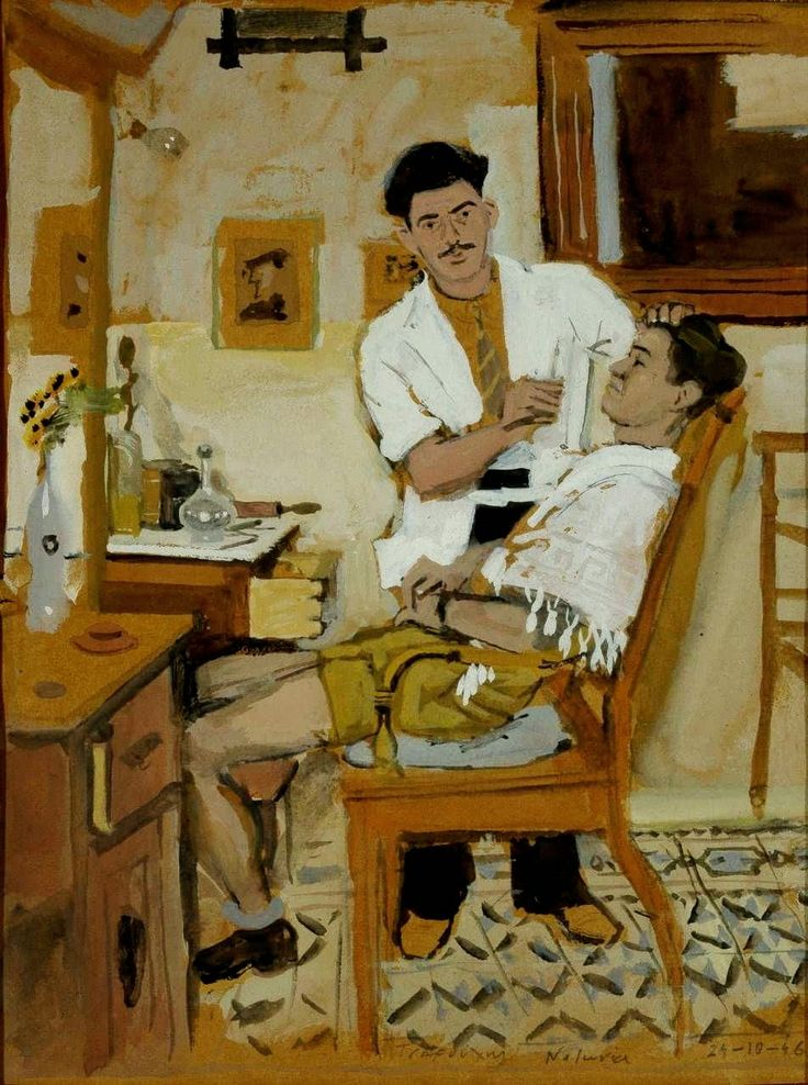 "Yannis Tsarouchis (1910-1989, Greek) ""The Barber"" by . Completed 1946"