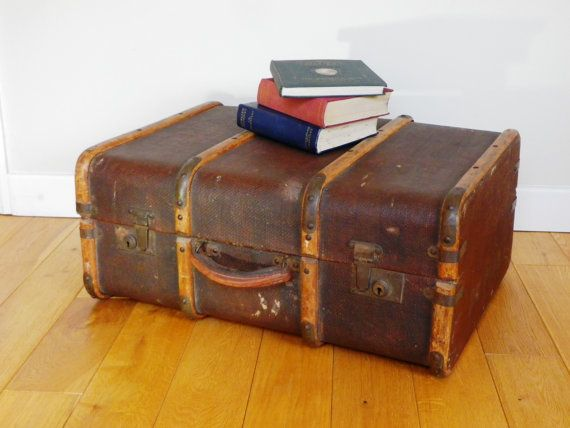 Bentwood Steamer Trunk  small suitcase sized by KittysVintageVault