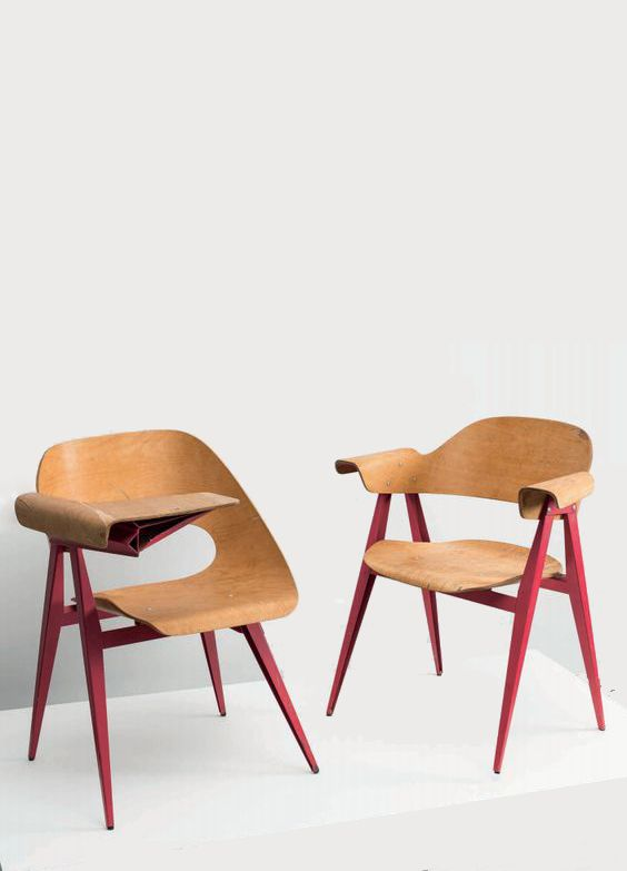 Klaus Vogt; Molded Plywood and Enameled Metal Chairs Locarno High School, 1962.