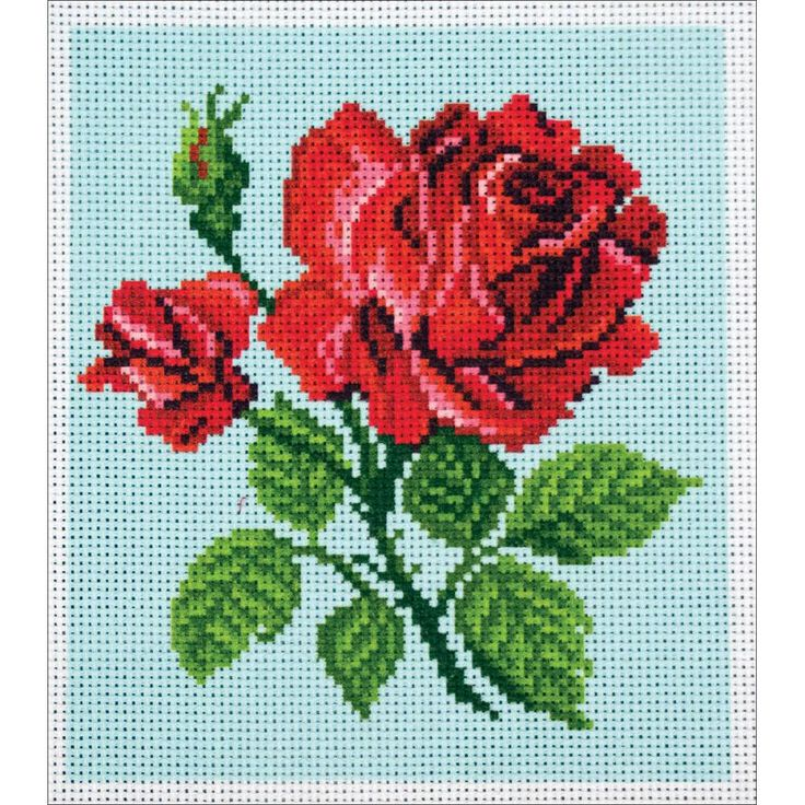"""Red Rose Stamped Cross Stitch Canvas - 14 count 7.75"""" x 8.5"""""""