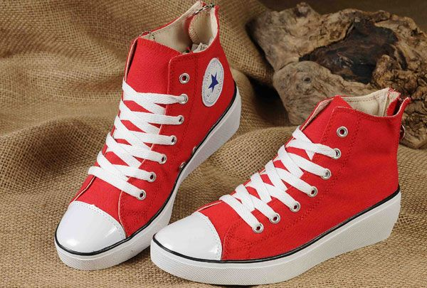 739a728ad83c Red High Tops Converse All Star Platform Women Elevated heel Sneakers Chuck  Taylor Canvas Zipper  converse  shoes