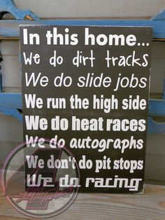"""Introducing a new version of our """"We Do Racing"""" sign for the Late Model and Modified fans out there. We can also personalize this piece. Available in lots of vibrant colors. #Racing #HandmadeInAmerica #DirtRacing"""