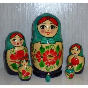 Nolinsk 6-set (aqua with blue dress ) #Babushka #russiandoll #matryoshka #dollsindolls #decor #traditional