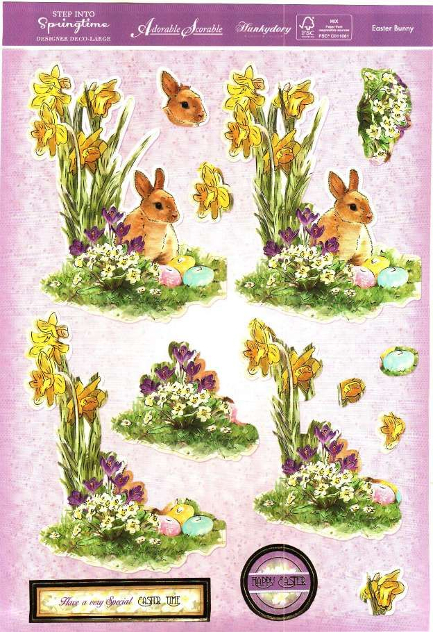 Hunkydory Step into Springtime - Easter Bunny - die cut decoupage