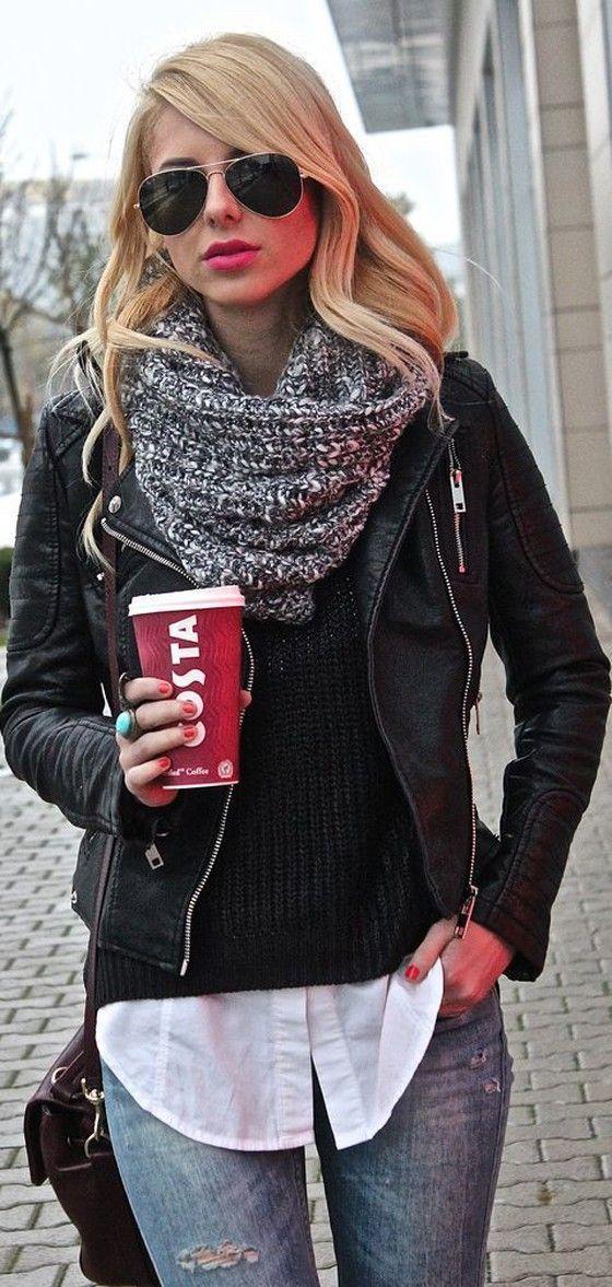 Black Plain Zipper Band Collar Streetwear PU Leather Jacket