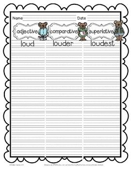 FREE!! Use this mini pack to practice working with adjectives that compare in a variety of ways...  Sort the word cards into 3 piles: -Adjectives -Comparative adjectives -Superlative adjectives