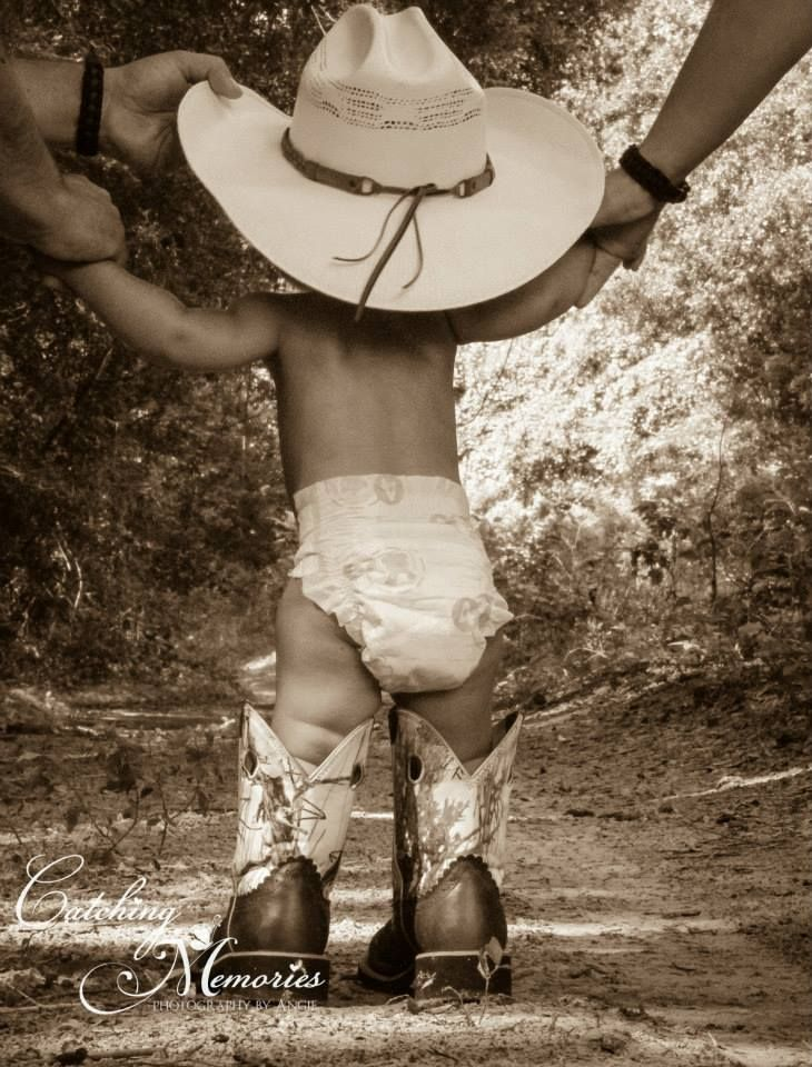Even a cowgirl can use a hand once in a while.  :)  Photo by Catching Memories Photography.  #baby #cowgirl #photography
