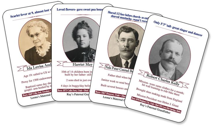 Ancestor flash cards can be a fun way for kids (and grownups!) to learn about their family heritage.