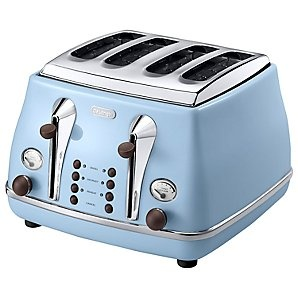 De'Longhi CTOV4003AZ Vintage Icona, 4-Slice Toaster, Azure Blue