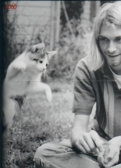 """The caption before this was """"rock star with kitten."""" ...It's Kurt Cobain people..."""