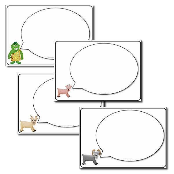 The Three Billy Goats Gruff worksheets - Writing area speech bubbles.